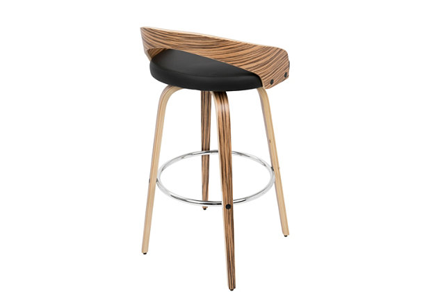 LumiSource Grotto Bar Height Bar Stool, Black, large