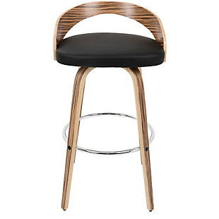 LumiSource Grotto Bar Height Bar Stool, Black, rollover