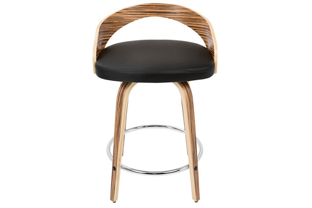 LumiSource Grotto Counter Stool, Black, large