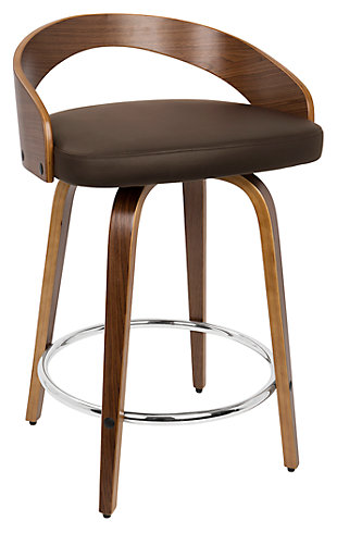 LumiSource Grotto Counter Stool, Walnut Brown, large