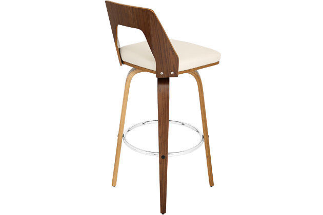 LumiSource Trilogy Bar Height Bar Stool with Swivel, Beige, large