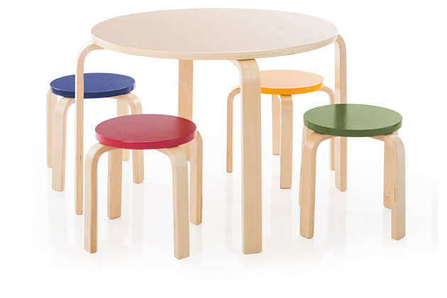 Kids Nordic Table and Chairs (Set of 5), , large