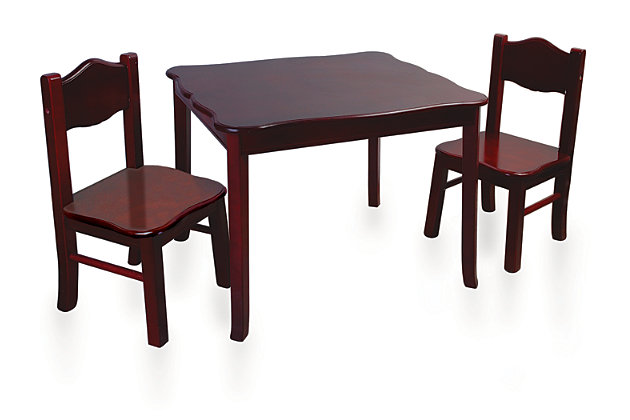 Classic Espresso Table and Chairs (Set of 3), , large