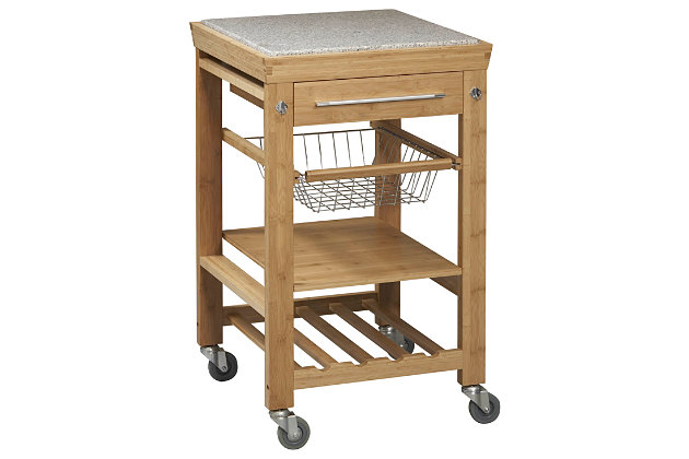 Kitchen Inlaid Granite Top Cart, , large