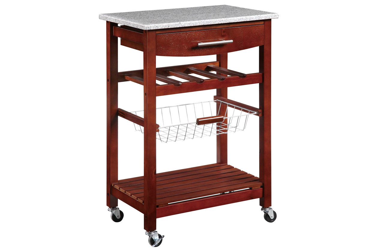 Linon Kitchen Island Granite Top Cart, ...