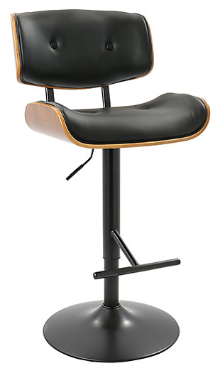 Lombardi Adjustable Height Bar Stool with Swivel, Black, large