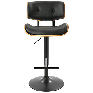 Lombardi Adjustable Height Bar Stool with Swivel, Black, rollover