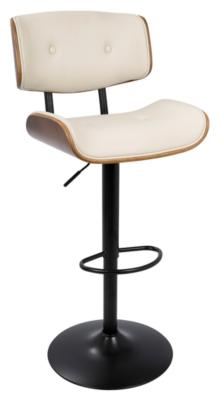 Lombardi Adjustable Height Bar Stool with Swivel, Cream, large