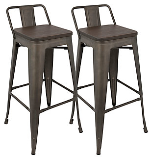 Oregon Low Back Bar Height Bar Stool (Set of 2), Espresso, large