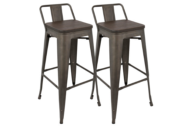 Oregon Low Back Bar Stool (Set of 2), Espresso, large