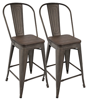 LumiSource Oregon High Back Counter Stool (Set of 2), , large