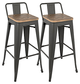 LumiSource Oregon Low Back Bar Stool (Set of 2), , large