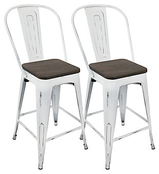 Oregon High Back Counter Stool (Set of 2), White/Espresso, large