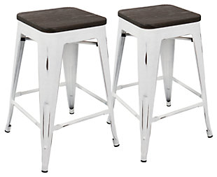 Oregon Counter Stool (Set of 2), White/Espresso, large