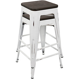 Oregon Counter Stool (Set of 2), White/Espresso, rollover