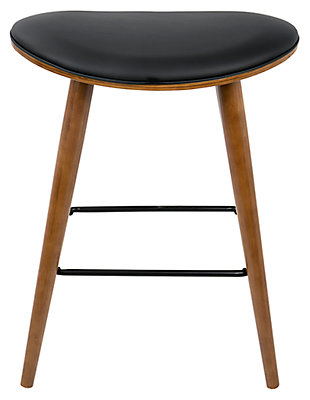 Saddle Counter Stool (Set of 2), Black, rollover