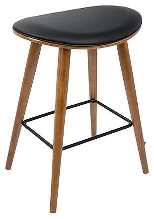 Saddle Counter Stool (Set of 2), Black, large