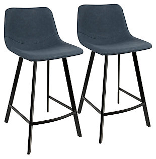 Outlaw Counter Stool (Set of 2), Blue, large