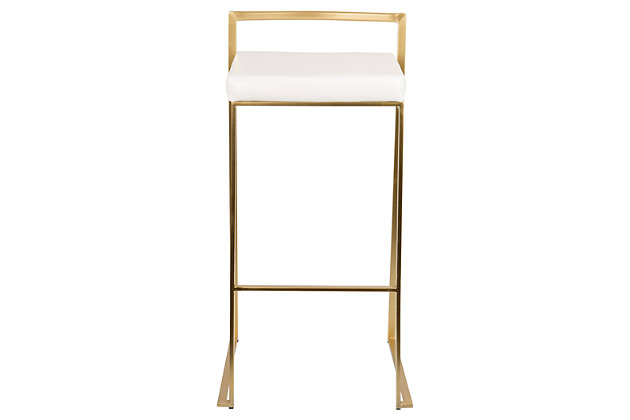 Fuji Bar Stool (Set of 2), White, large