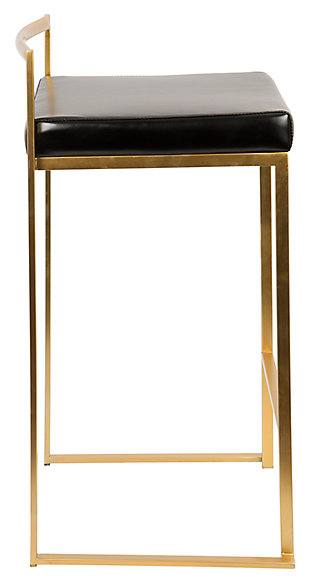 Fuji Bar Stool (Set of 2), Black, large
