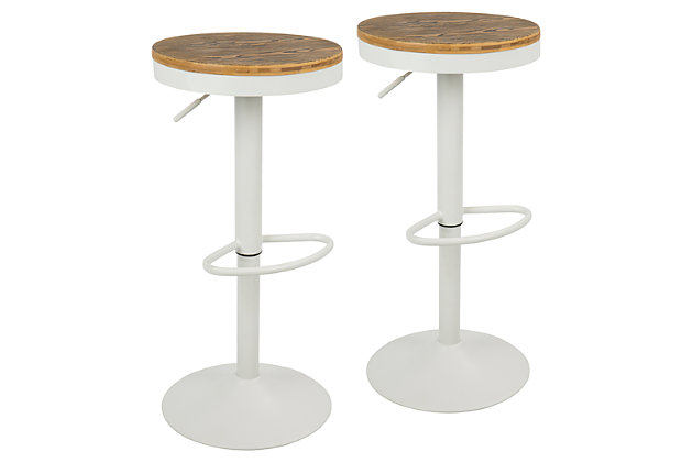 Dakota Adjustable Swivel Bar Stool (Set of 2), White, large