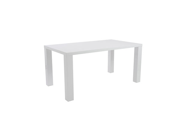 """Euro Style Abby 63"""" Rectangle Dining Table in White, High Gloss White, large"""