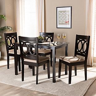 Lenoir Sand Fabric Upholstered Espresso Brown Finished Wood 5-Piece Dining Set, Espresso, large