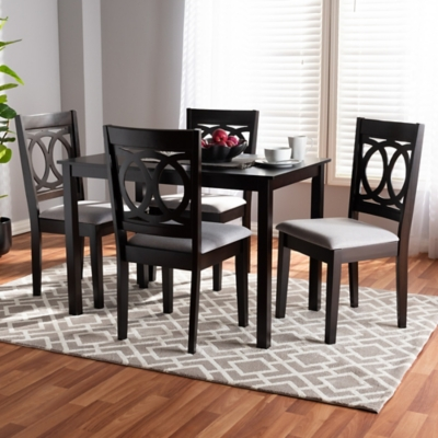 Lenoir Gray Fabric Upholstered Espresso Brown Finished Wood 5-Piece Dining Set, Gray, large