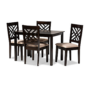 Caron Sand Fabric Upholstered Espresso Brown Finished Wood 5-Piece Dining Set, Espresso, large