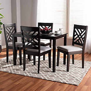 Caron Gray Fabric Upholstered Espresso Brown Finished Wood 5-Piece Dining Set, Gray, rollover