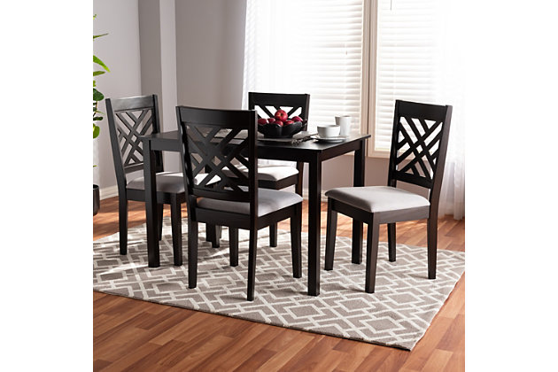Caron Gray Fabric Upholstered Espresso Brown Finished Wood 5-Piece Dining Set, Gray, large
