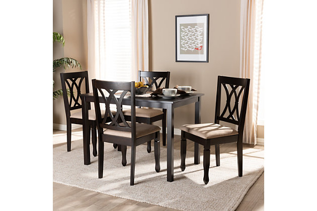Reneau Sand Fabric Upholstered Espresso Brown Finished Wood 5-Piece Dining Set, Espresso, large