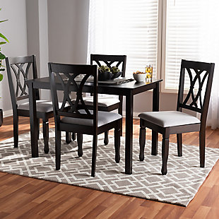 Reneau Gray Fabric Upholstered Espresso Brown Finished Wood 5-Piece Dining Set, Gray, rollover