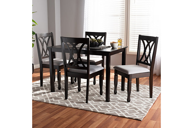 Reneau Gray Fabric Upholstered Espresso Brown Finished Wood 5 Piece Dining Set Ashley Furniture Homestore