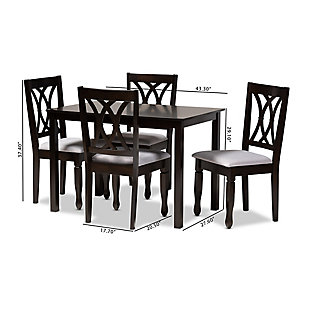 Reneau Gray Fabric Upholstered Espresso Brown Finished Wood 5-Piece Dining Set, Gray, large
