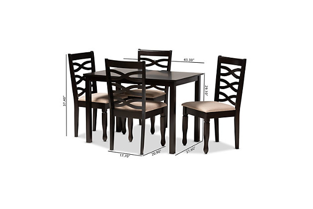 Lanier Sand Fabric Upholstered Espresso Brown Finished Wood 5-Piece Dining Set, Espresso, large