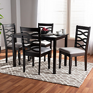 Lanier Gray Fabric Upholstered Espresso Brown Finished Wood 5-Piece Dining Set, Gray, rollover
