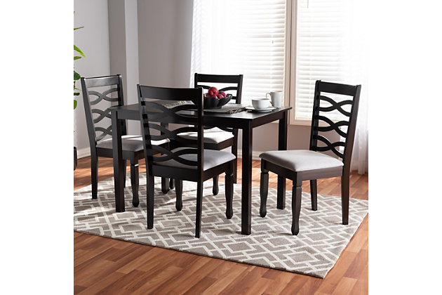 Lanier Gray Fabric Upholstered Espresso Brown Finished Wood 5-Piece Dining Set, Gray, large
