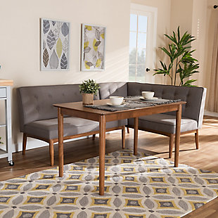 Arvid Mid-Century Modern Gray Fabric Upholstered 3-Piece Wood Dining Nook Set, , rollover