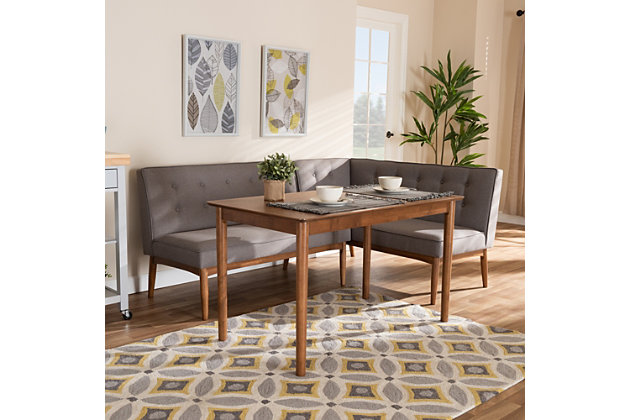 Arvid Mid-Century Modern Gray Fabric Upholstered 3-Piece Wood Dining Nook Set, , large