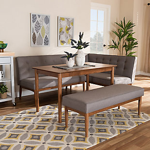Arvid Mid-Century Modern Gray Fabric Upholstered 4-Piece Wood Dining Nook Set, , rollover
