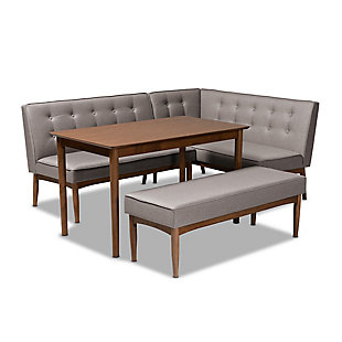 Arvid Mid-Century Modern Gray Fabric Upholstered 4-Piece Wood Dining Nook Set, , large