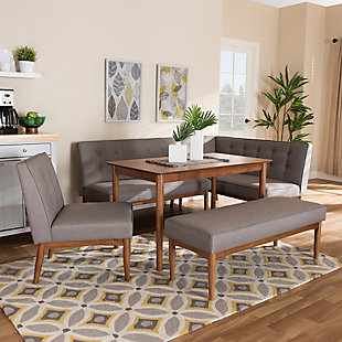 Arvid Mid-Century Modern Gray Fabric Upholstered 5-Piece Wood Dining Nook Set, , rollover