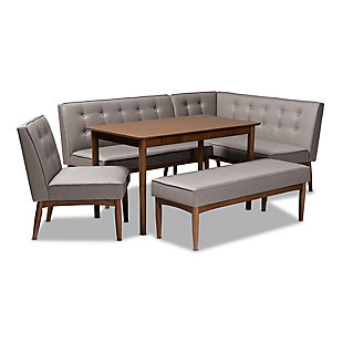 Arvid Mid-Century Modern Gray Fabric Upholstered 5-Piece Wood Dining Nook Set, , large