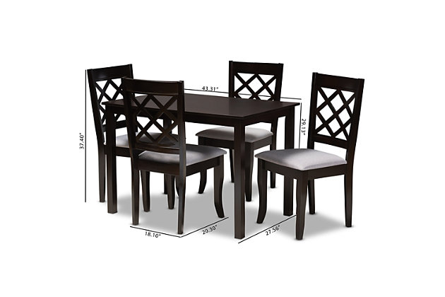 Verner Gray Fabric Upholstered Espresso Brown Finished 5-Piece Wood Dining Set, Gray, large