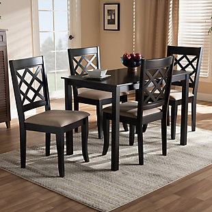 Verner Sand Fabric Upholstered Espresso Brown Finished 5-Piece Wood Dining Set, Espresso, rollover