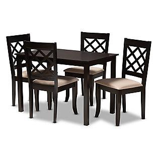 Verner Sand Fabric Upholstered Espresso Brown Finished 5-Piece Wood Dining Set, Espresso, large