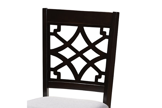 Mael Gray Fabric Upholstered Espresso Brown Finished 5-Piece Wood Dining Set, Gray, large