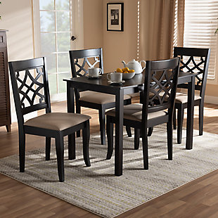 Mael Sand Fabric Upholstered Espresso Brown Finished 5-Piece Wood Dining Set, Espresso, rollover