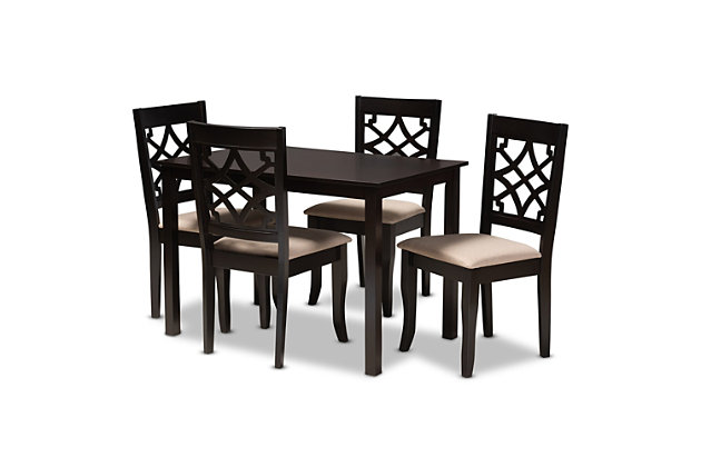 Mael Sand Fabric Upholstered Espresso Brown Finished 5-Piece Wood Dining Set, Espresso, large